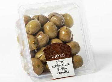 Olive schiacciate Sicilia condite