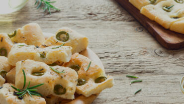 Focaccia with Green Olives and Rosemary
