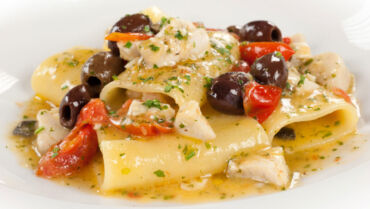 Paccheri Pasta with Taggiasca Olives, Pachino Tomatoes and Sea Bass